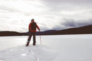 photo of person snowshoeing