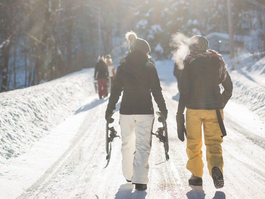 Photo of snowshoers walking