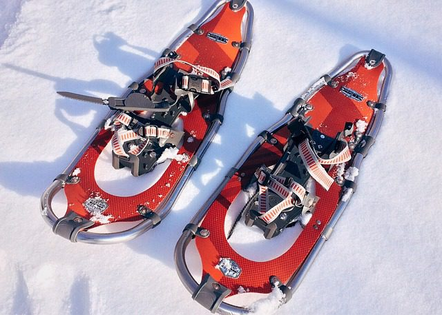 red snowshoes
