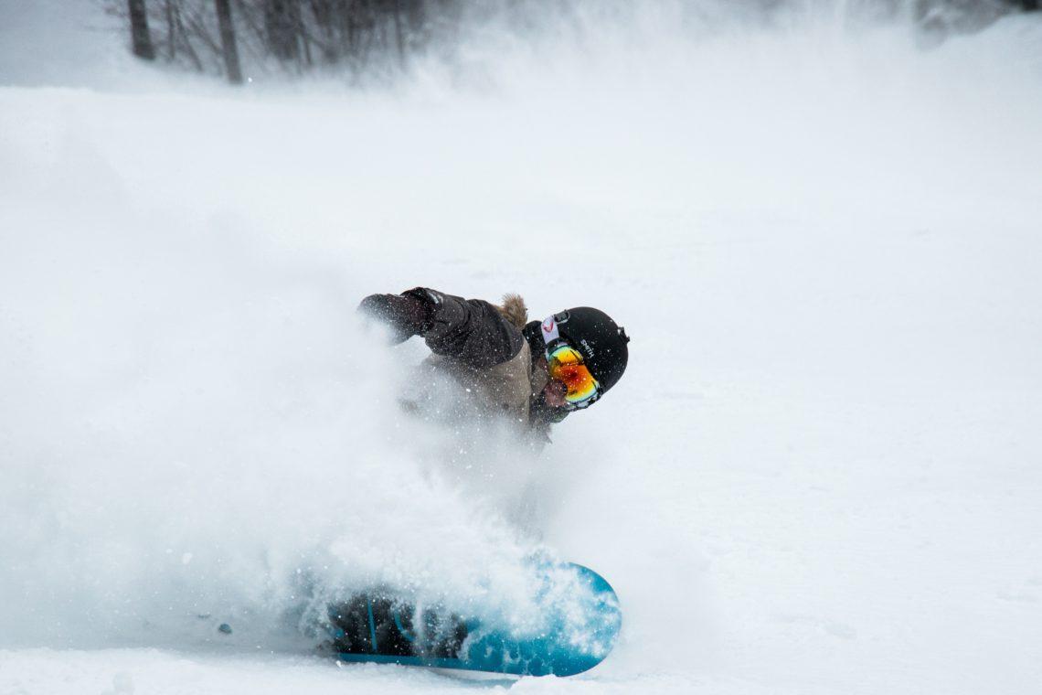 snowboarder in the powder