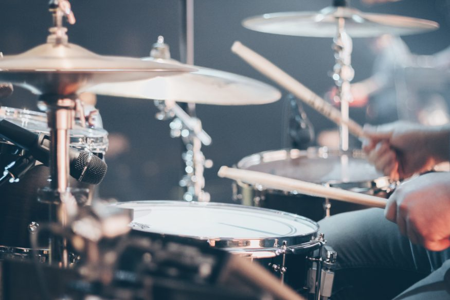 photo of drums at a concert