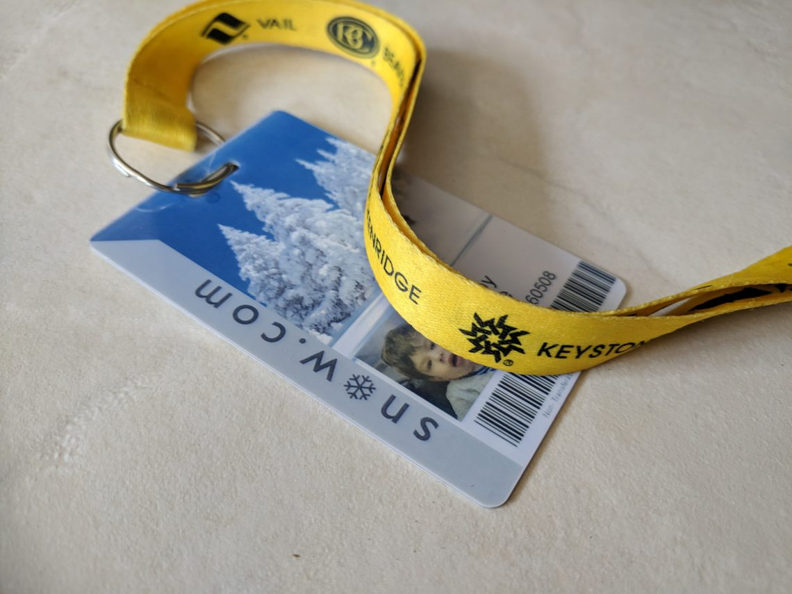 photo of a ski pass with lanyard