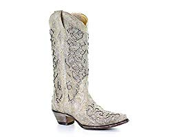 Corral Off-White Glitter Inlay & Crystal Cowboy Boots