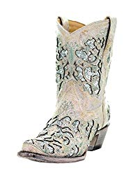 Corral White Glitter Inlay Ankle Cowboy Boot
