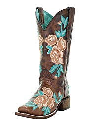 CORRAL Chocolate Floral Embroidered Square Toe Boots