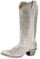 Corral Crystal White Cross and Wings Boots