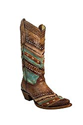 Corral Turquoise/Brown Embroidery & Studs Cowboy Boots
