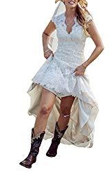 GMAR Vintage Lace V Neck Wedding Dress