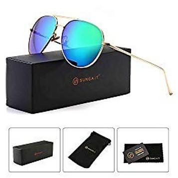 SUNGAIT Mirrored Polarized Aviator Sunglasses