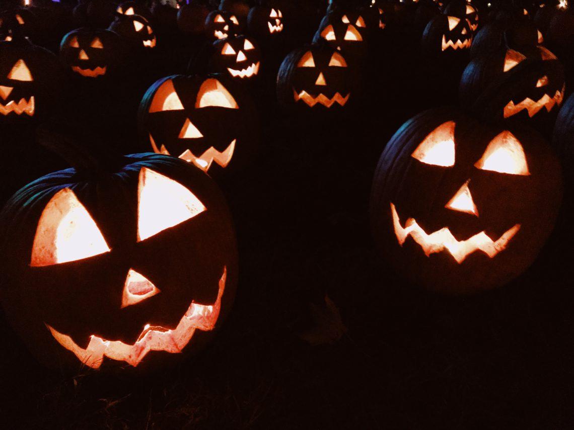 Lit carved halloween Pumpkins