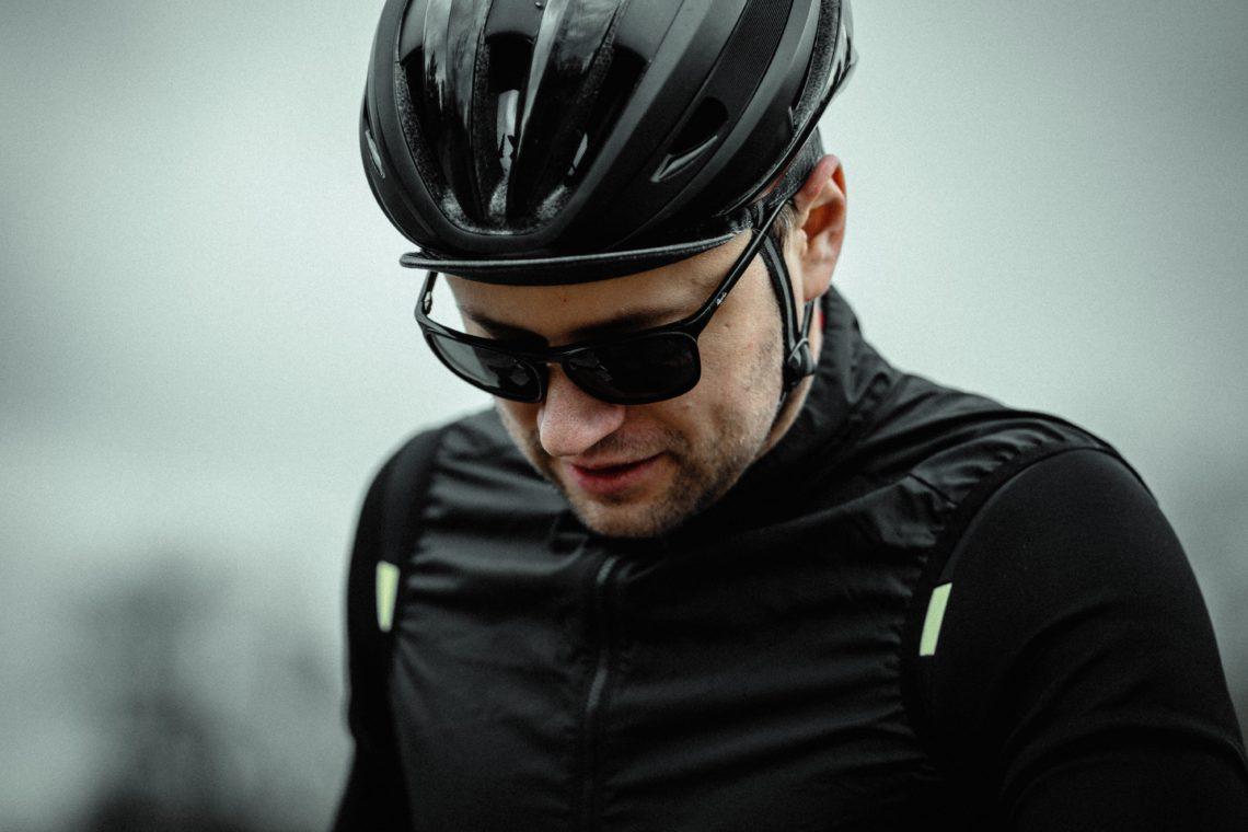 Man wearing a bike helmet