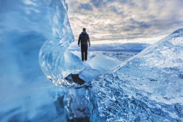 Man hiking on ice
