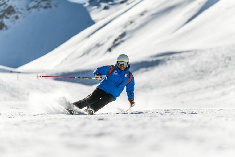 skier on ski trail