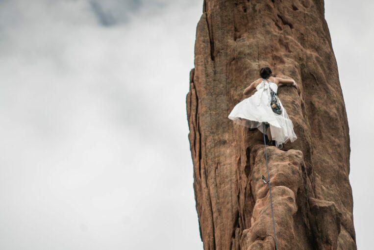 Adventurous Rock Climbing Bride Getting Married