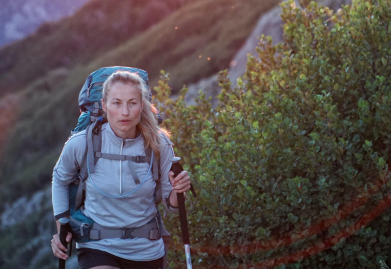 Woman Hiking with Walking Poles